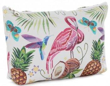 Firmowe i Modne Kosmetyczki w rozmiarze L marki David Jones wzór Flaminga Multikolor Brązowa