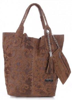 VITTORIA GOTTI Made in Italy Torebka Skórzana Shopperbag w Tłoczone Wzory Ziemista