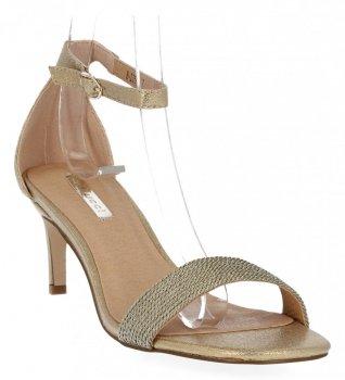 Złote sandały damskie na obcasie firmy Bellucci