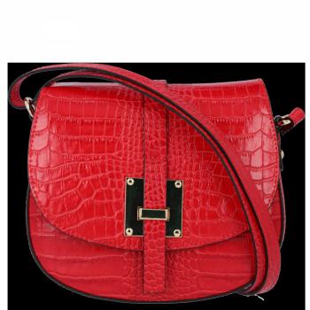 Eleganckie Torebki Skórzane Listonoszki w motyw aligatora firmy Vittoria Gotti Czerwona