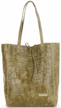 Vittoria Gotti Włoski Shopper XL Uniwersalna Torba Skórzana do noszenia na co dzień z modnym motywem Żółwia Oliwka