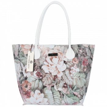 Duża Torba Skórzana Vittoria Gotti Kufer XL w Kwiaty Multikolorowa Biała