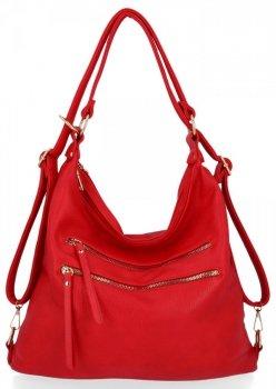 Uniwersalna Torebka Damska z funkcją plecaczka firmy Herisson Czerwona