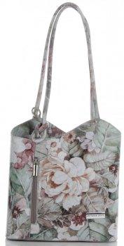 Uniwersalna Torebka Skórzana z funkcją plecaczka firmy Vittoria Gotti Made in Italy we wzory Kwiatów Jasno Szara