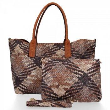 Modna Torebka Damska Venere Shopper Bag Czekolada