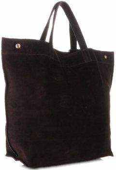 Włoski Skórzany Shopper XL firmy Vera Pelle Czekoladowy