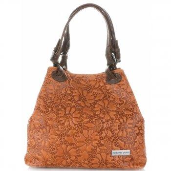 Włoska Torebka Skórzana firmy Vittoria Gotti z tłoczonym wzorem Kwiatów Pomarańczowa