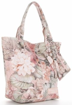 Vittoria Gotti Firmowy Shopper XL w modny wzór Kwiatów Pudrowy Róż