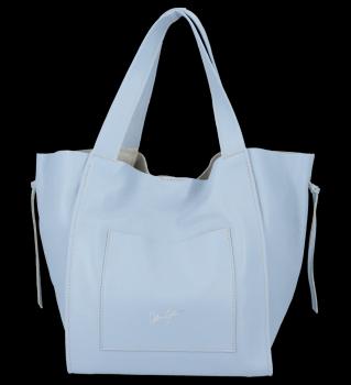 Vittoria Gotti Włoska Torebka Skórzana Shopper Bag z Kosmetyczką Błękit