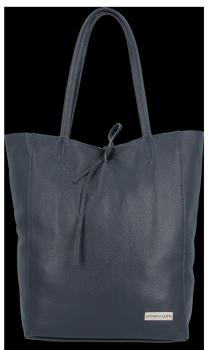 Uniwersalna Torebka Skórzana Firmowy Shopper Vittoria Gotti w rozmiarze XL Granat