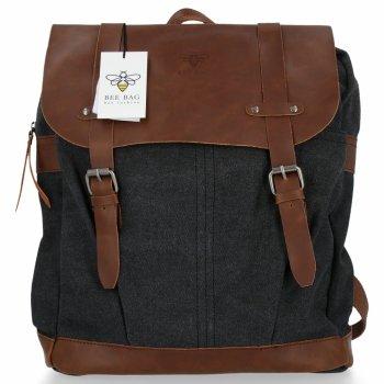 BEE BAG Uniwersalny Plecak Damski Oldschool Czarny