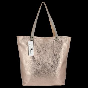 Modne Torebki Skórzane Włoski Shopper Bag firmy Vittoria Gotti Stare Złoto