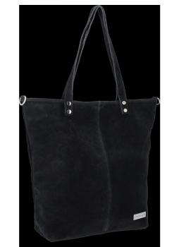 Uniwersalna Torebka Skórzana Shopper Bag firmy Vittoria Gotti Czarna