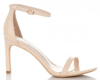 Eleganckie Lakierowane Sandały Damskie na Szpilce firmy Ideal Shoes Beżowe