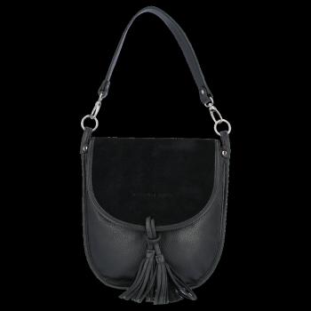 Vittoria Gotti Uniwersalna Duża Skórzana Listonoszka XL do noszenia na co dzień Czarna