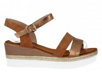 Camelowe firmowe sandały na platformie Lady Glory