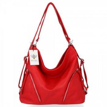BEE BAG Uniwersalne Torebki Damskie z funkcją plecaczka Madison Czerwona