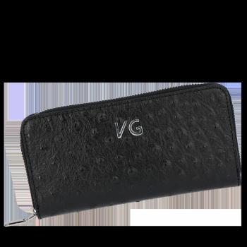 Firmowy Skórzany Portfel Damski w motyw strusia Vittoria Gotti Made in Italy Czarny