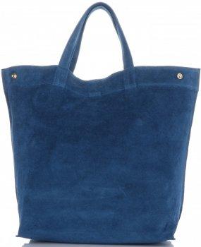 Włoski Skórzany Shopper XL firmy Vera Pelle Jeansowy