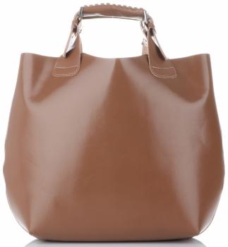 Torebka skórzana Shopperbag z kosmetyczką Ziemista
