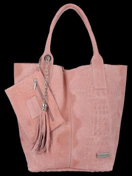 Włoskie Torebki Skórzane Shopper Bag w motyw aligatora firmy Vittoria Gotti Różowa