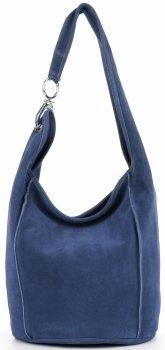Vittoria Gotti Made in Italy Firmowa Torebka Skórzana do noszenia na co dzień Niebieska