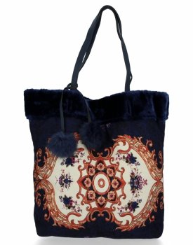 BEE BAG Torebka Damska Shopper XL Boho Style Granat