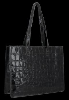 Vittoria Gotti Klasyczna Torebka Skórzana w modny motyw żółwia Czarna