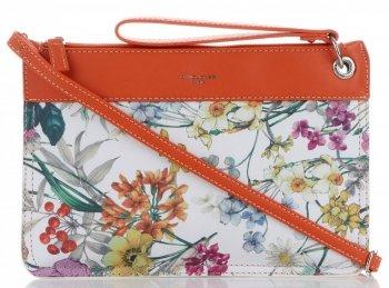 Firmowe Listonoszki Damskie we wzór kwiatów marki David Jones Multikolor Pomarańczowa