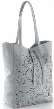 Vittoria Gotti Włoski Skórzany ShoppeBag z Kosmetyczką w modne wycinane wzory Jasno Szary
