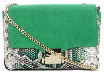 Vittoria Gotti Ekskluzywna Firmowa Listonoszka Skórzana Made in Italy w modny motyw węża Smocza Zieleń