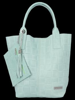 Modne Torebki Skórzane Shopper Bag XL z Etui firmy Vittoria Gotti Mięta