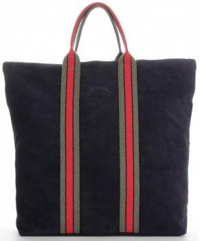 Vittoria Gotti Torebki Skórzane w modne paski Firmowy Shopper Made in Italy z funkcją Plecaczka Granat