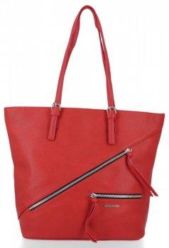 Uniwersalne Torebki Damskie typu Shopper firmy David Jones Czerwona