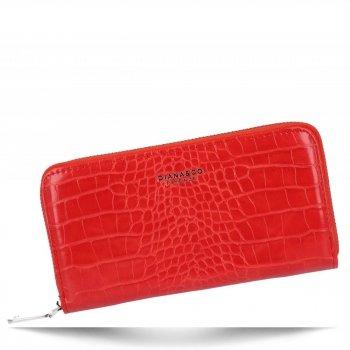 Eleganckie Portfele Damskie XL w motyw aligatora firmy Diana&Co Czerwony