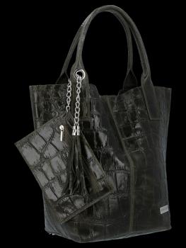 Uniwersalna Torebka Skórzana XL Shopper Bag w motyw zwierzęcy firmy Vittoria Gotti Ciemno Zielona