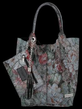 Modna Torebka Skórzana Shopper Bag w kwiaty firmy Vittoria Gotti Czarna