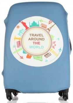 Pokrowiec na Walizkę firmy Snowball w rozmiarze L Travel around the world Niebieski