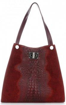 Torebka Skórzana ShopperBag XL z Kosmetyczką wzór Aligatora Czerwona