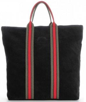 Vittoria Gotti Torebki Skórzane w modne paski Firmowy Shopper Made in Italy z funkcją Plecaczka Czarny