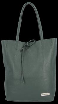 Uniwersalna Torebka Skórzana Firmowy Shopper Vittoria Gotti w rozmiarze XL Butelkowa Zieleń