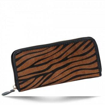 Stylowe Skórzane Portfele Damskie z włosiem naturalnym w motyw tygrysa Brązowy