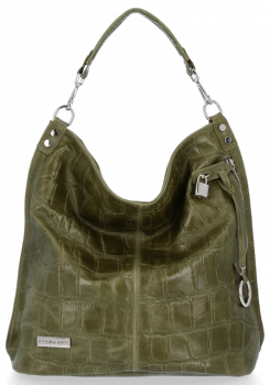 Vittoria Gotti Uniwersalna Torebka Skórzana w modny motyw żółwia Zielona