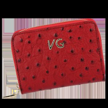 Firmowe Skórzane Portfele Damskie w motyw strusia Vittoria Gotti Made in Italy Czerwony