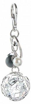Brelok do torebki Glamour Round z kryształami Srebrny