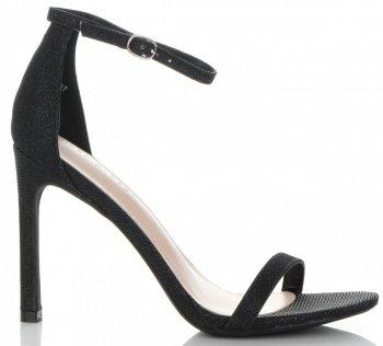 Modne Sandały Damskie na Szpilce Brokatowe Czarne