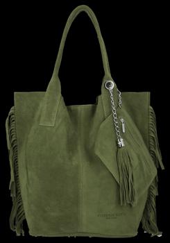 Modna Torebka Skórzana Zamszowy Shopper Bag w Stylu Boho firmy Vittoria Gotti Zielona