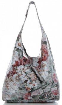 Torebka Skórzana firmy Vittoria Gotti Uniwersalny Włoski Shopper w modne wzory Kwiatów Czarna
