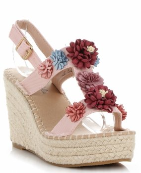 Modne Buty Damskie Koturny z kwiatami marki Lady Glory Pudrowy Róż