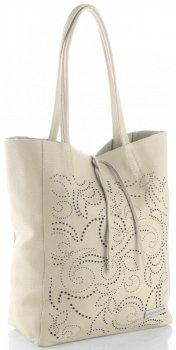 Vittoria Gotti Włoski Skórzany ShoppeBag z Kosmetyczką w modne wycinane wzory Beżowy